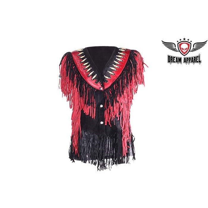 Ladies Black and Red Leather Top with Beads, Bone, Braids and Fringes