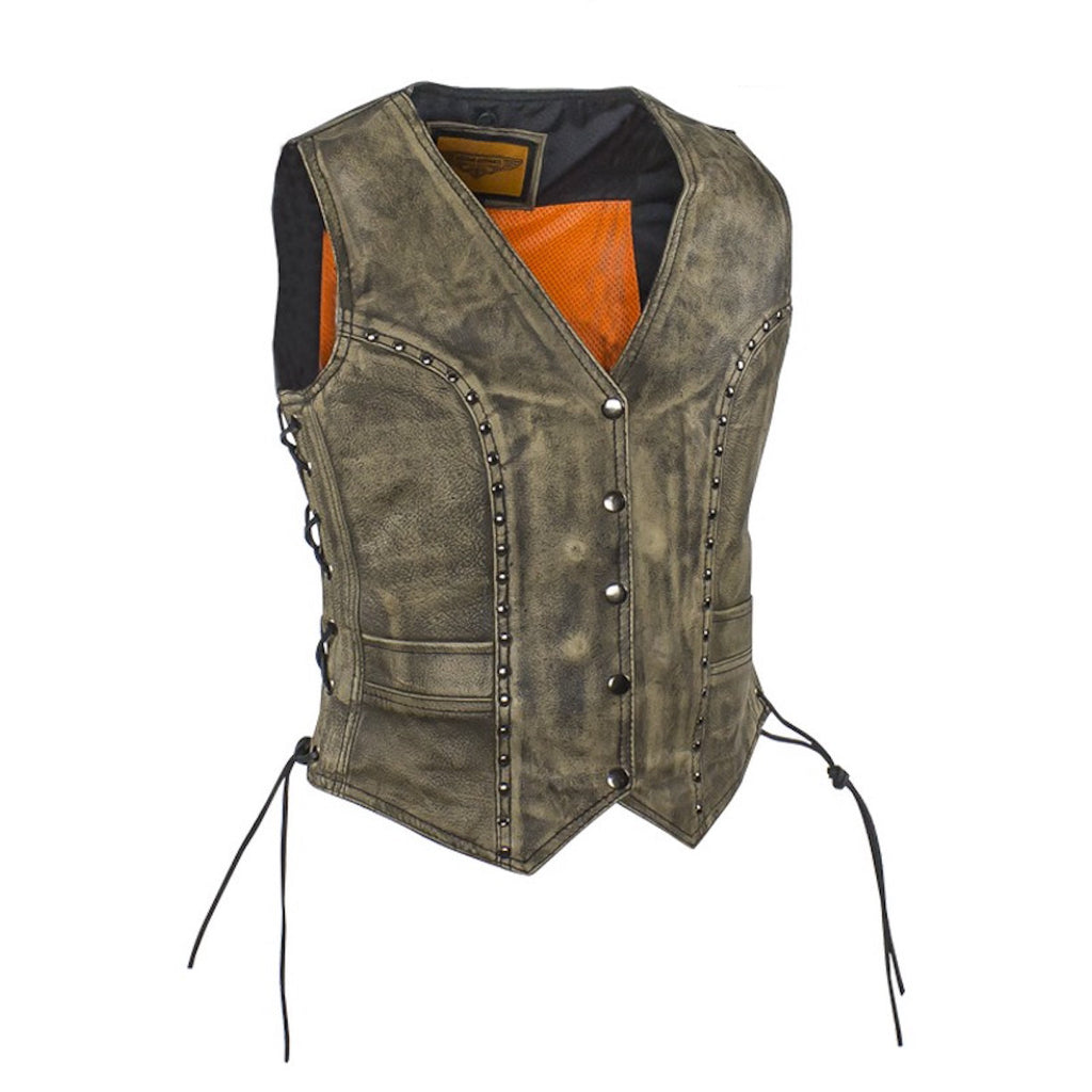 Women's Distressed Brown Leather Motorcycle Vest With Side Laces Stud Trim
