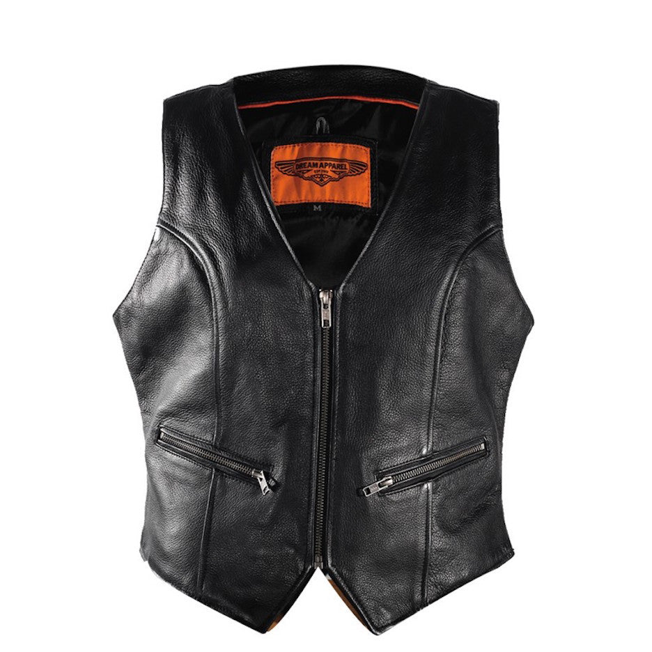 Women's Motorcycle Biker Naked Leather Vest With Gun Pockets Zip Front