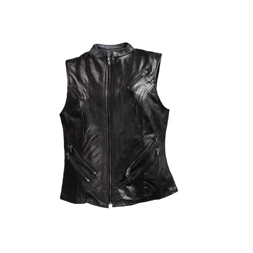 Womens Leather Motorcycle Vest With Two Gun Pockets