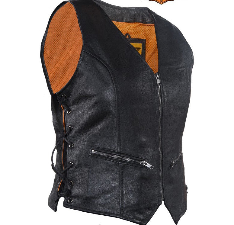 Womens Leather Motorcycle Vest Zip Front With Concealed Carry Pockets