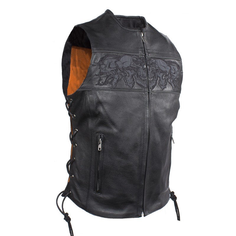Womens Motorcycle Vest With Reflective Skulls