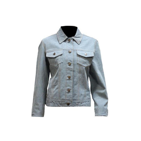 Ladies Genuine Leather Denim Look Jacket with Studs