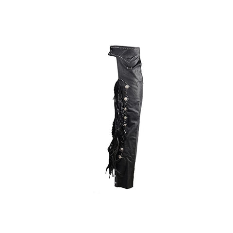 Ladies Leather Western Motorcycle Chaps With Studs Beaded Fringe & Fashion Snap