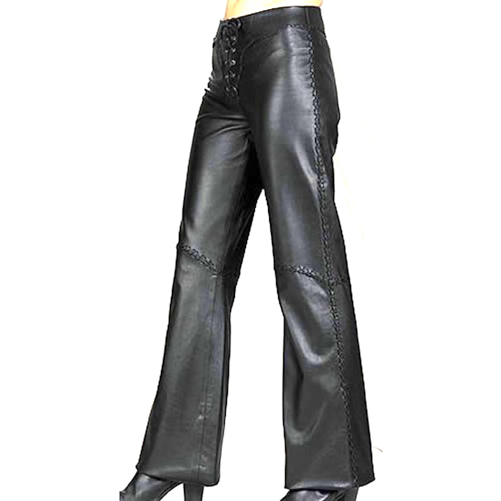 "Ladies Leather ""Sandra"" Pants Lace Up Front"