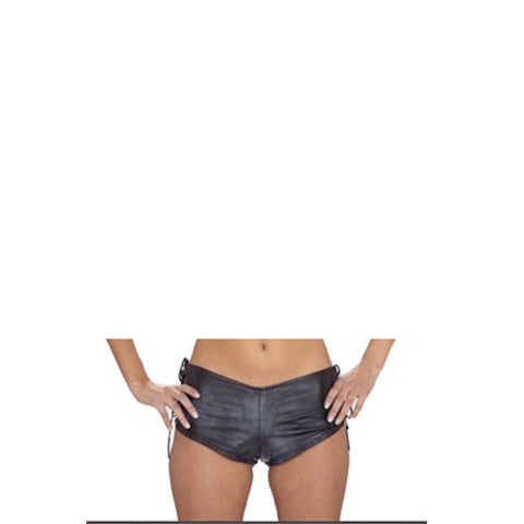 Ladies Leather Shorts with Side Laces