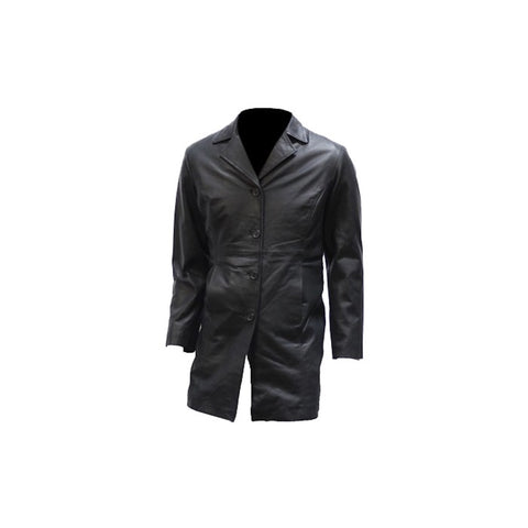 Ladies Long Naked Leather 2/4 Coat With Button Front
