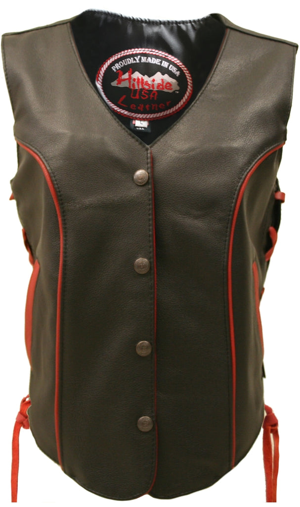 Ladies Made in USA Black Leather Motorcycle Vest With Red Trim Side Laces