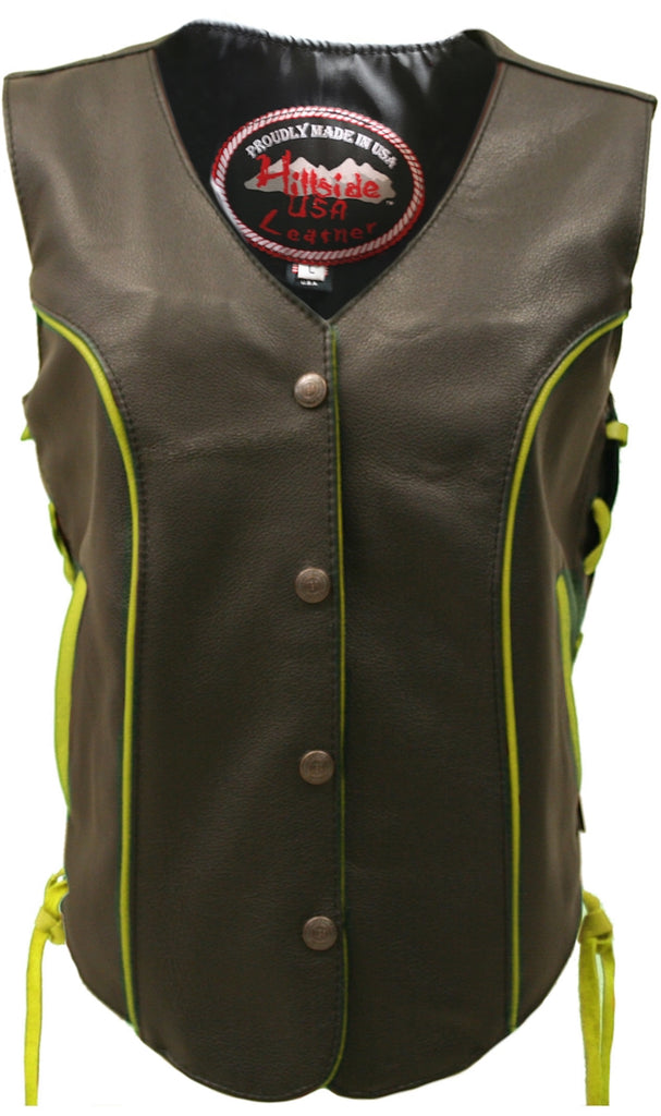 Ladies Made in USA Black Leather Motorcycle Vest With Yellow Trim Side Laces