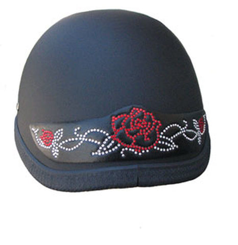 Ladies Red Rose Rhinestone Motorcycle Helmet Patch