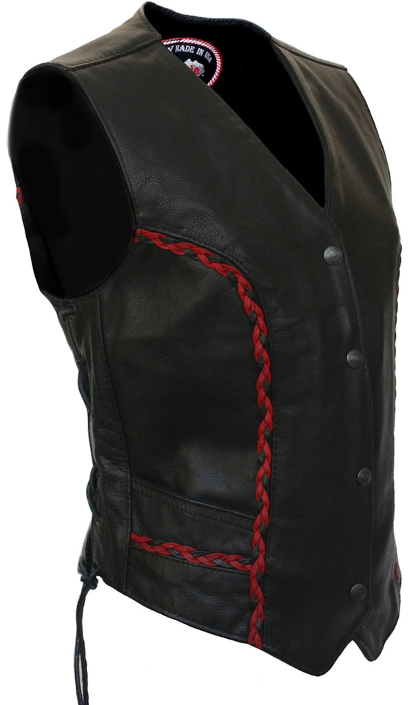 Ladies Red and Black Braid Made in USA Naked Leather Motorcycle Vest