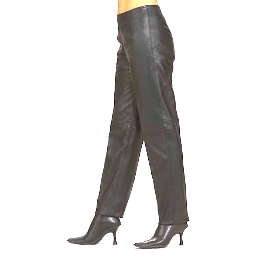 Ladies Women's Leather Hip Hugger Pants With Side Hidden Zipper