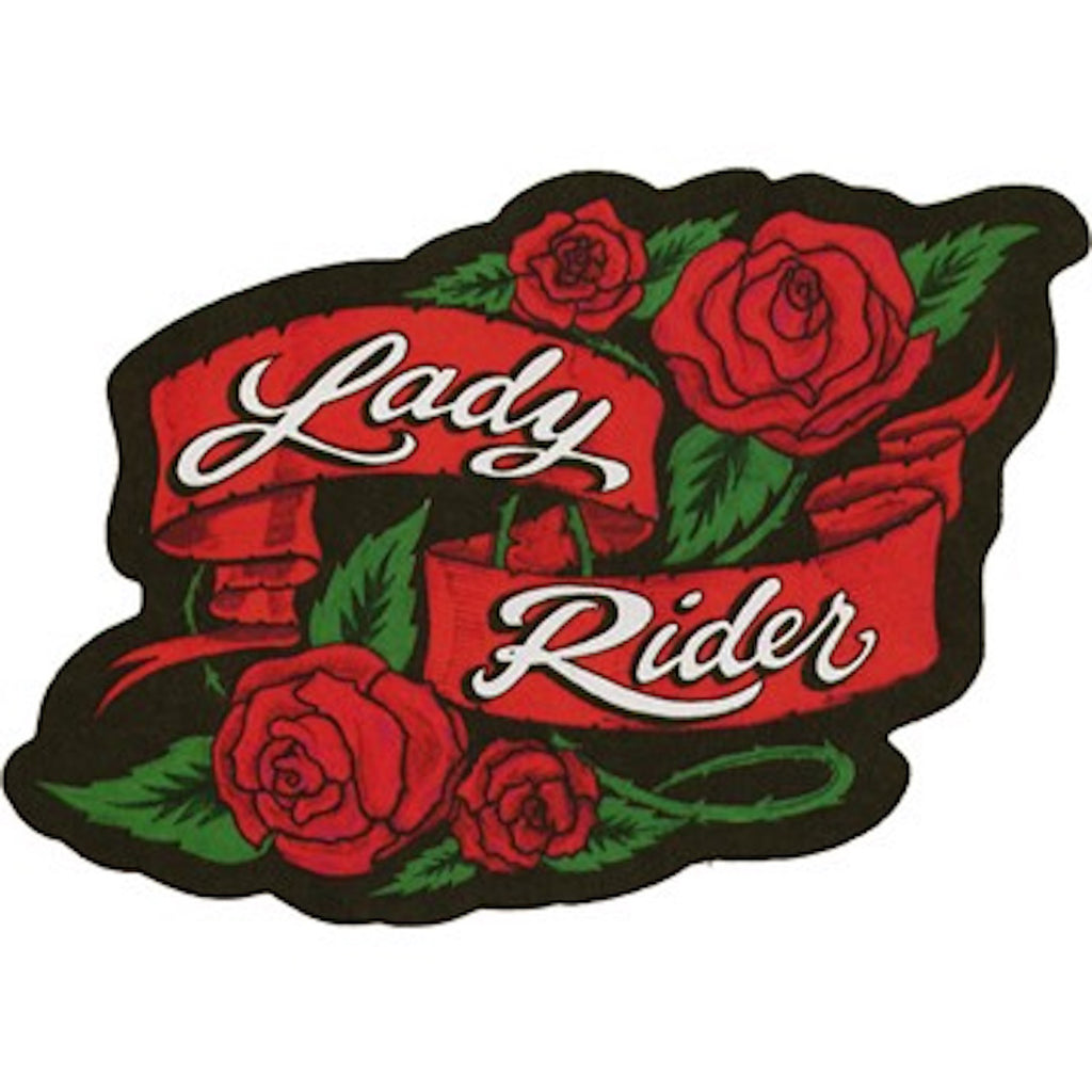 Lady Rider With Roses Motorcycle Vest Patch