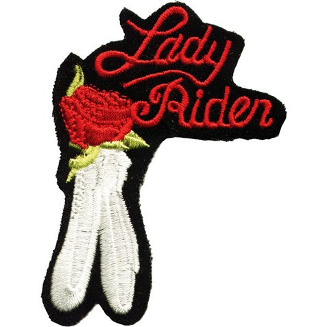 Lady Rider and Rose Motorcycle Vest Patch