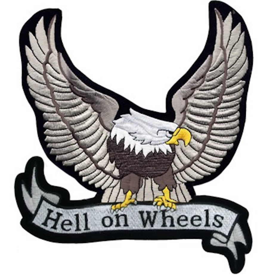 "Large Motorcycle Vest Patch With Silver Eagle ""Hell on Wheels"" 8.5"" x 8.5"""
