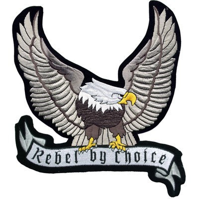 "Large Motorcycle Vest Patch With Silver Eagle ""Rebel by Choice"" 8.5"" x 8.5"""