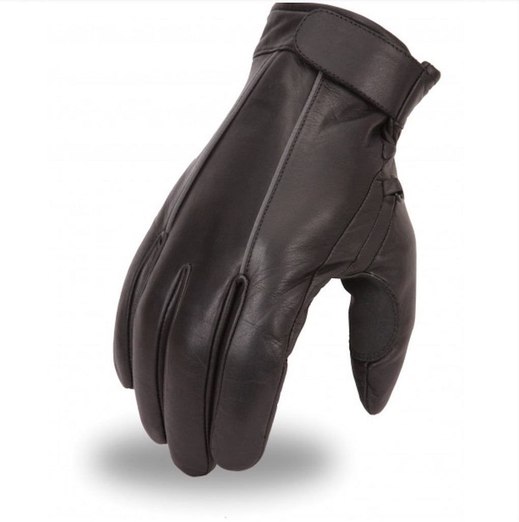 Leather Motorcycle Glove With Reflective Piping and Throttle Grip
