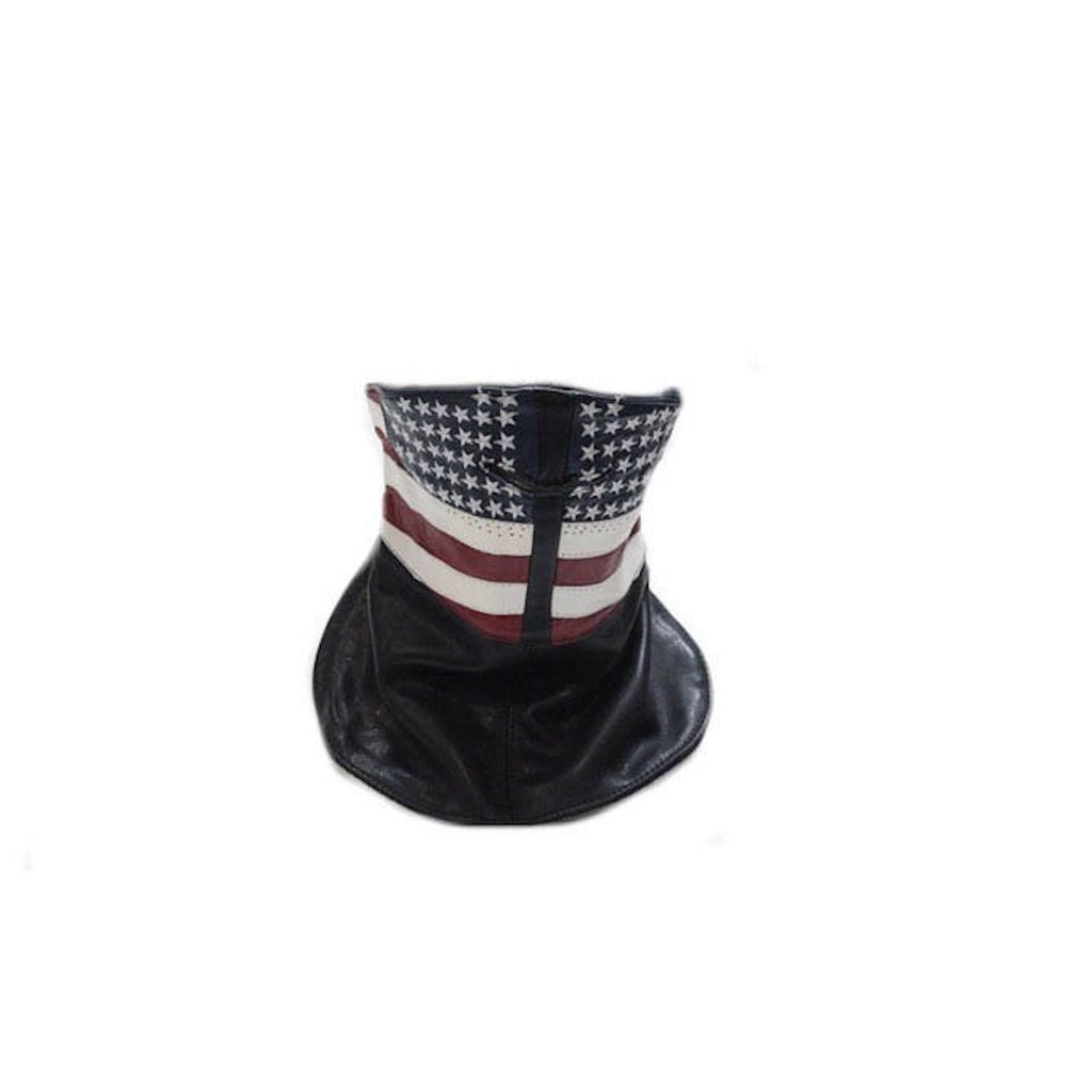 Leather Motorcycle Face Mask With USA American Flag