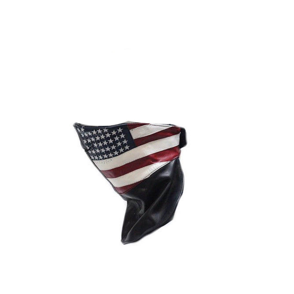 Leather Motorcycle Snow Skiing Face Mask With USA American Flag