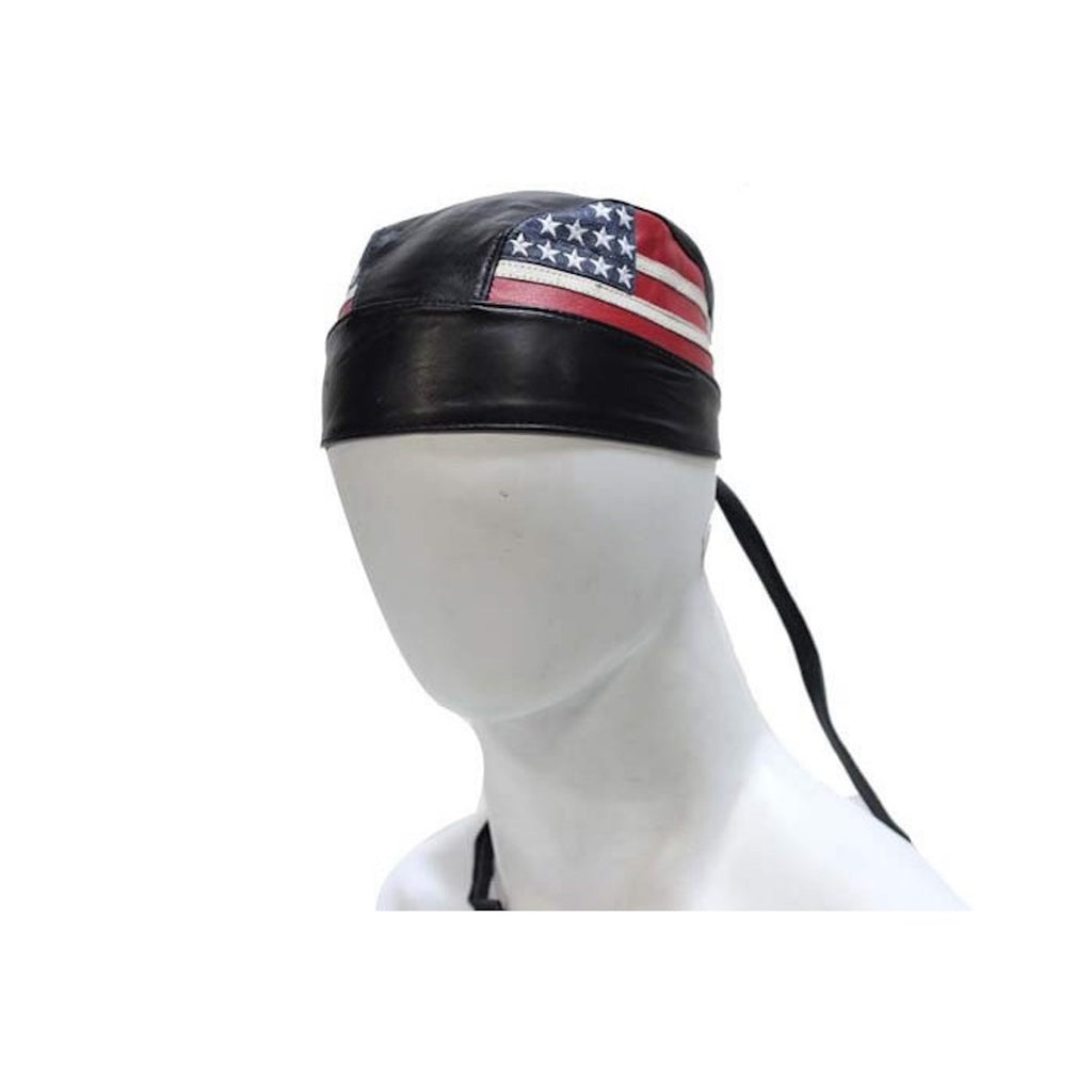 Leather Skull Cap With USA American Flag