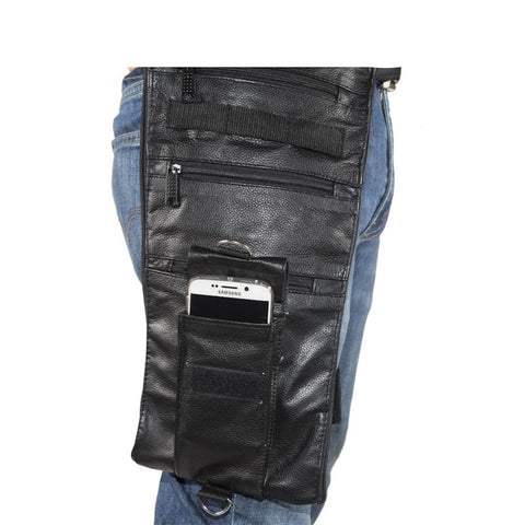 "Leather Thigh Bag Fanny Pack With Gun Pocket 8.5""x16"""