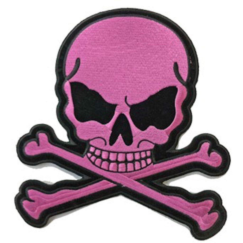 "Light Pink Skull and Crossbones Medium Motorcycle Vest Patch 5.5"" x 5"""