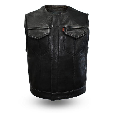 1.4mm Heavy Gauge Shorter Leather Motorcycle Vest With Gun Pockets Solid Back