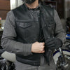 Lowside Mens Black Ultra Soft 1.4mm Heavy Gauge Leather Motorcycle Vest 3 Inches Shorter