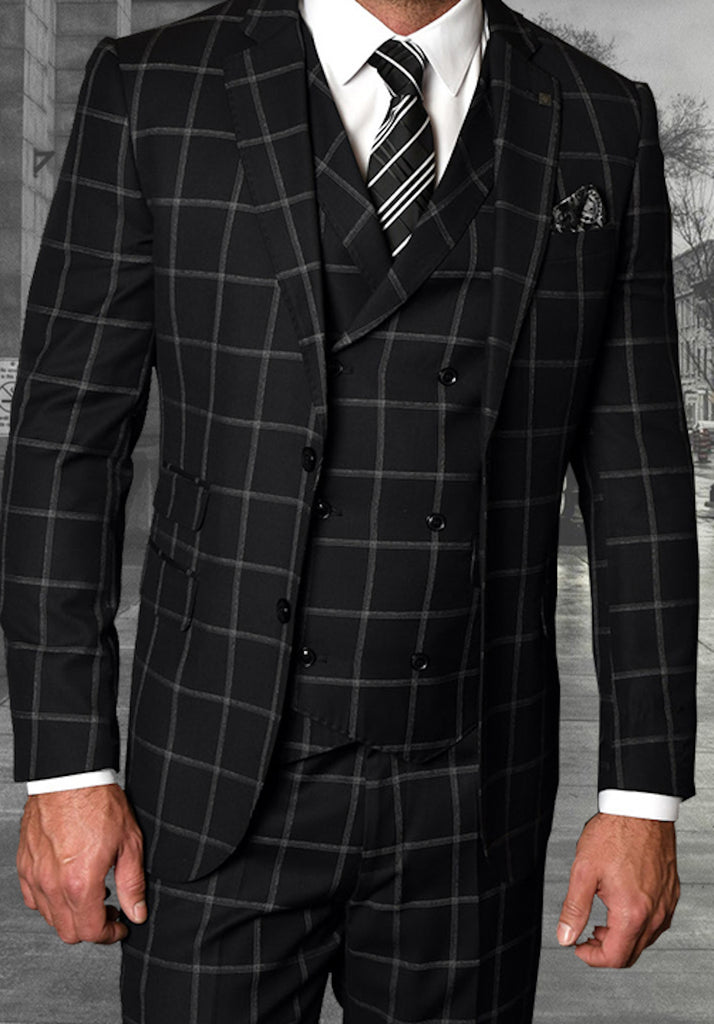 Mens 3 Piece Slim Fit Black Windowpane Wool Blend Designer Business Suit