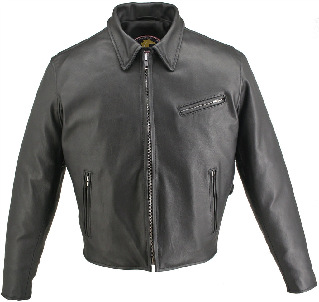 Men's Made in USA Black Horsehide Leather Motorcycle Jacket with Gun Pockets