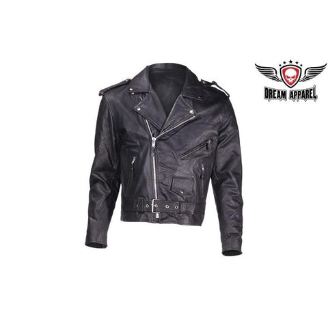 Kids Classic Black Leather Motorcycle Jacket for Boys and Girls
