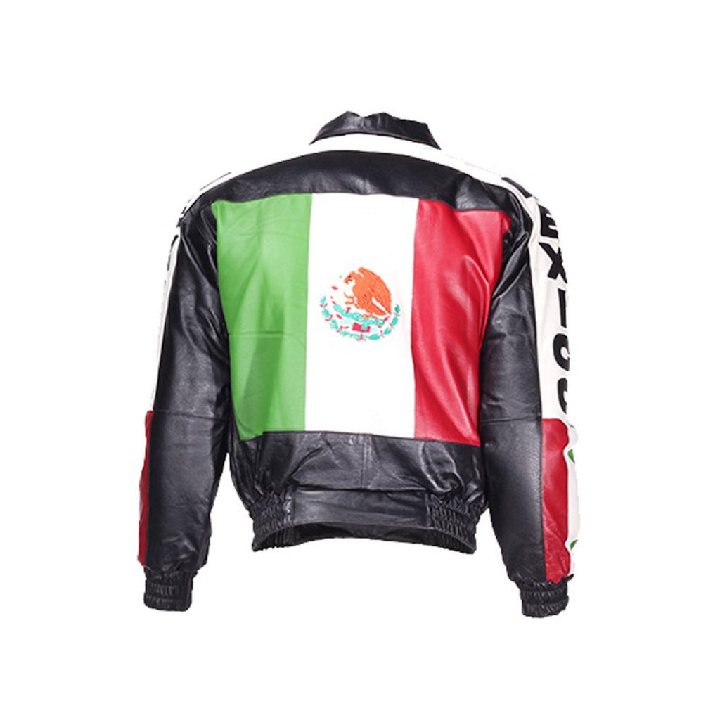 Mens Black Leather Motorcycle Jacket with Mexico Flag on Back