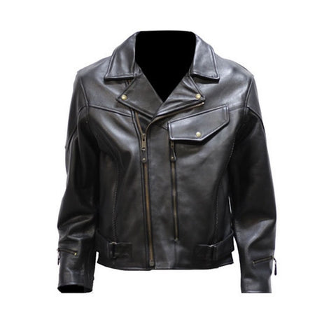 Mens Braided Pistol Pete Naked Leather Vented Motorcycle Jacket