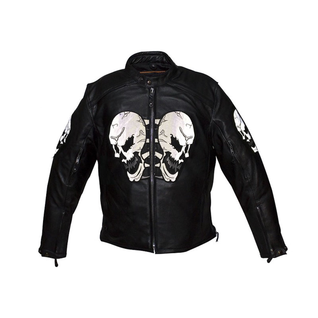 Mens Naked Leather Reflective Skull Motorcycle Jacket With Gun Pockets