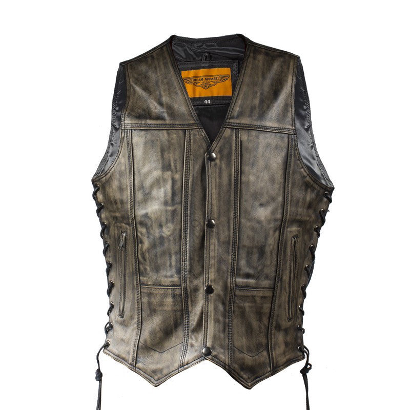 Mens Distressed Brown Naked Leather Motorcycle Vest With 10 Pockets
