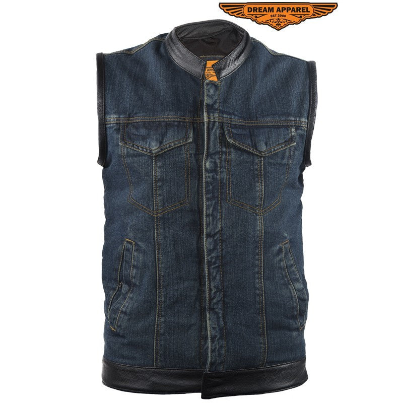 Mens Blue Denim Motorcycle Club Vest Solid Back Concealed Snaps Chest Pockets