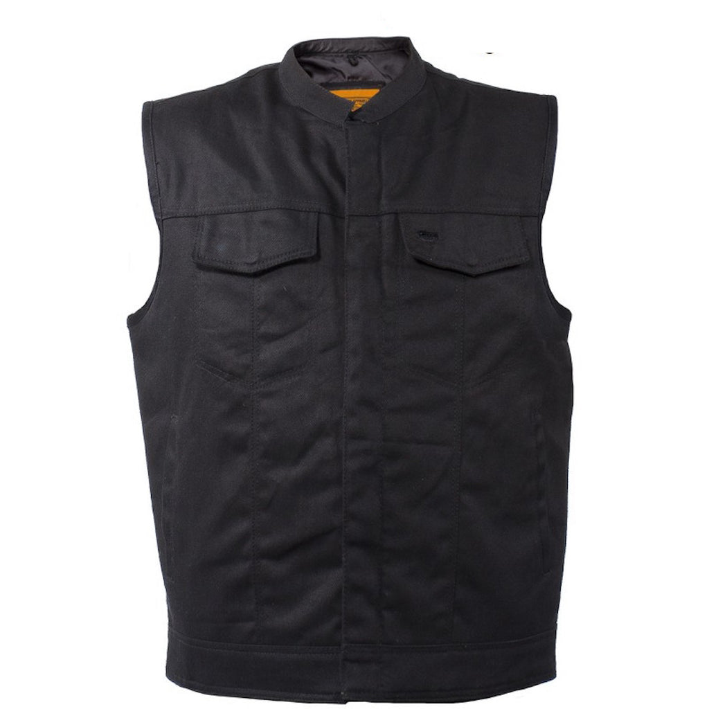 Mens Black Denim Motorcycle Vest With Zipper & Button Snap Front Closure