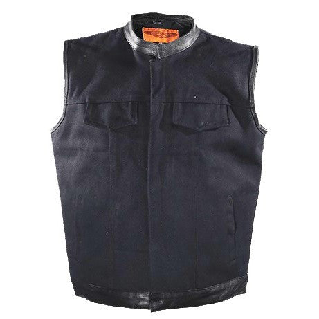 Mens Black Canvas Motorcycle Vest With Zipper Gun Pockets Solid Back For Patches