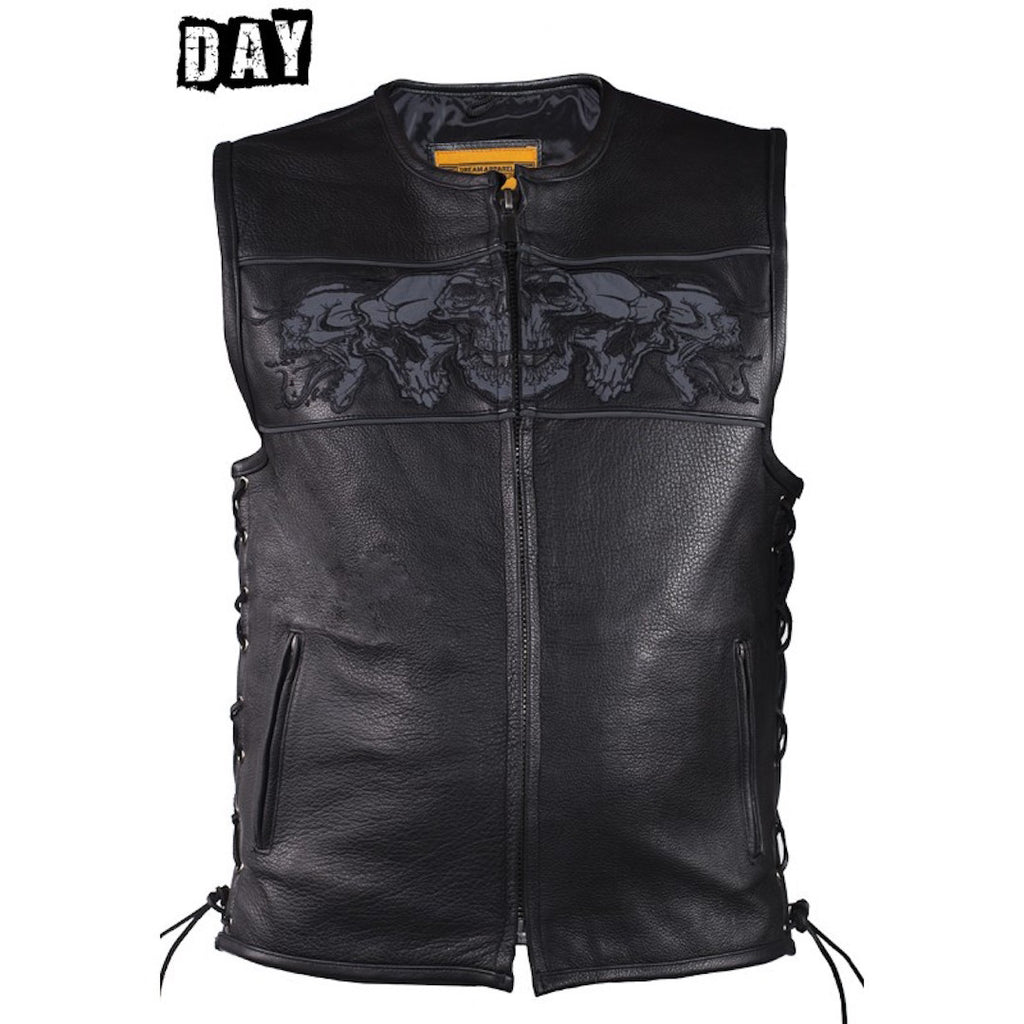 Mens Naked Leather Motorcycle Vest With Reflective Skulls & Gun Pockets