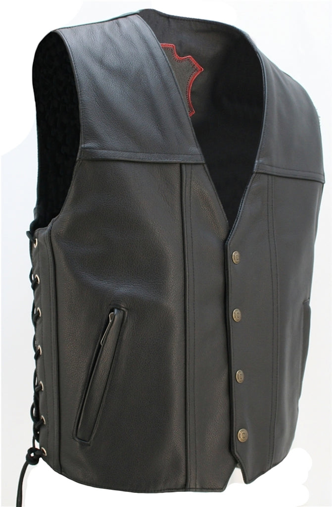 Made In USA Invader Full Solid Back Leather Motorcycle Vest Gun Pockets