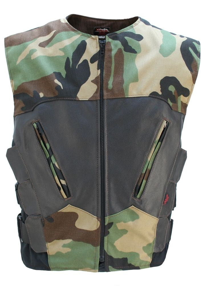 Made in USA Camouflage S.W.A.T. Style Zippered Motorcycle Vest