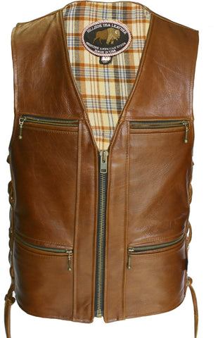 Men's Made in USA American Bison Brown Leather Motorcycle Vest