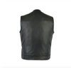 Men's No Collar Motorcycle Vest Single Panel Back With Gun Pockets Side Zippers