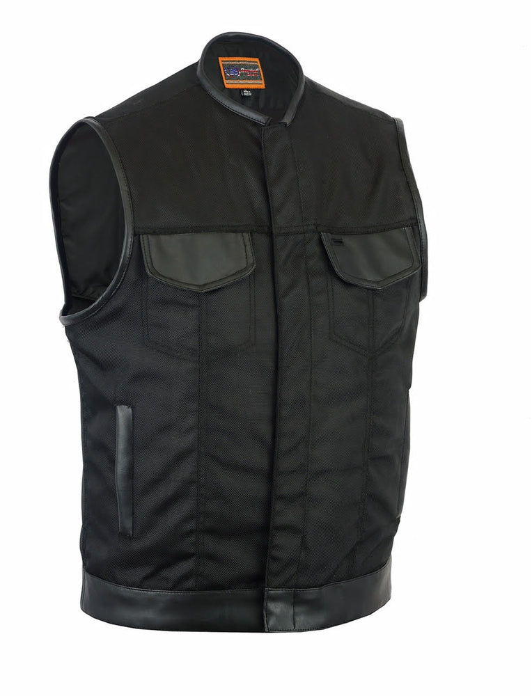 Men's Textile Motorcycle Vest With Leather Trim Concealed Snap Closure Solid Back