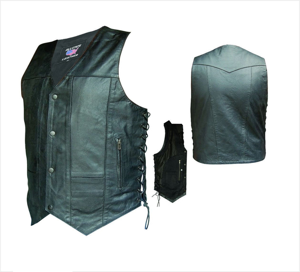 Men's 10 Pocket Black Aniline Leather Motorcycle Vest