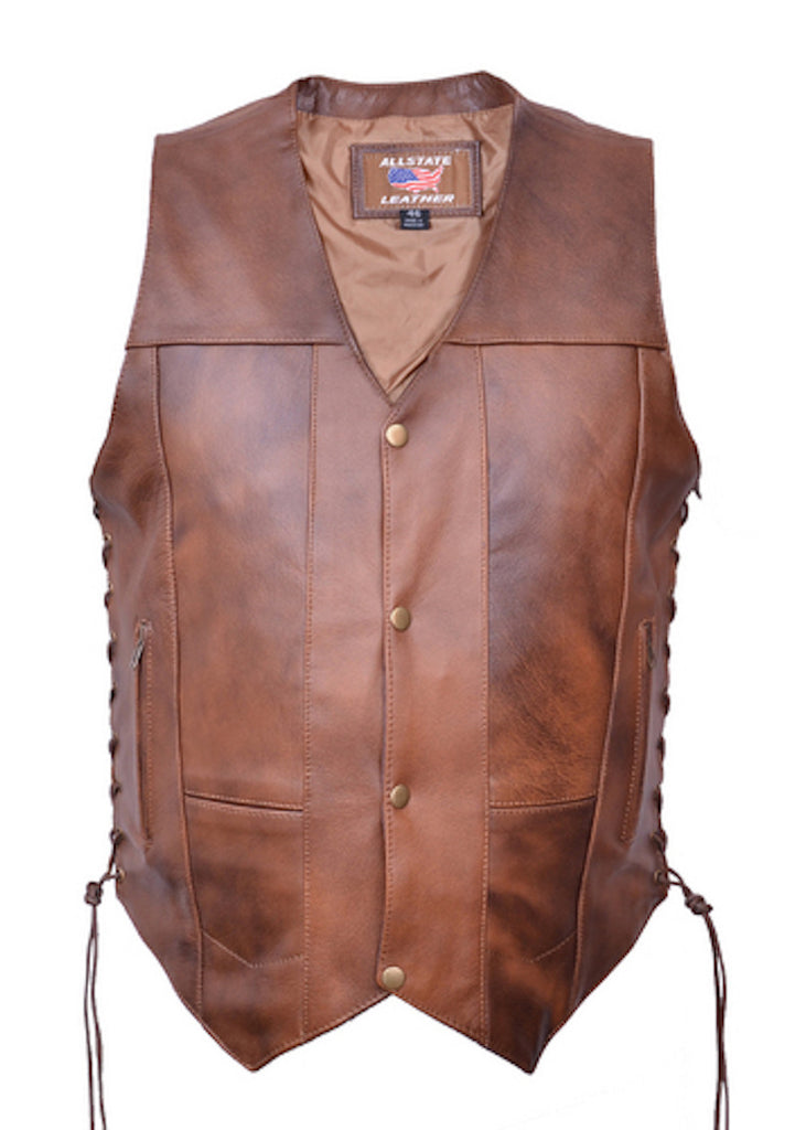 Men's 10 Pocket Brown Buffalo Leather Motorcycle Vest Side Laces Gun Pockets