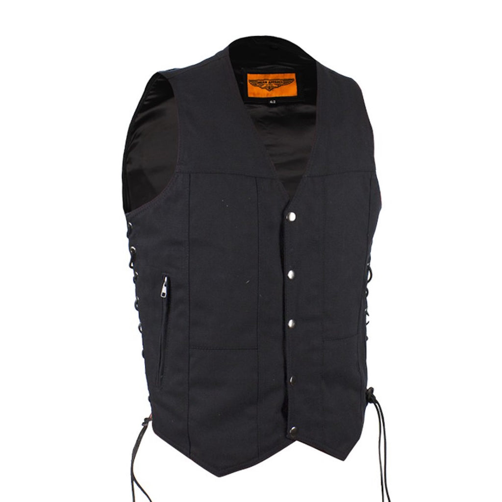 Men's Black Denim Motorcycle Vest with Gun Pockets Side Laces