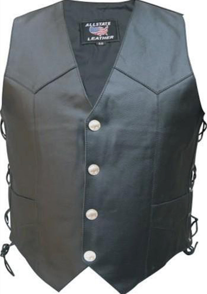 Men's Black Split Leather Motorcycle Vest With Buffalo Snaps & Side Laces