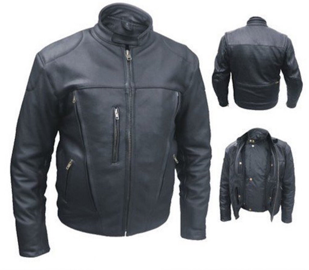 Men's Black Naked Buffalo Leather Motorcycle Jacket Front Back Vents