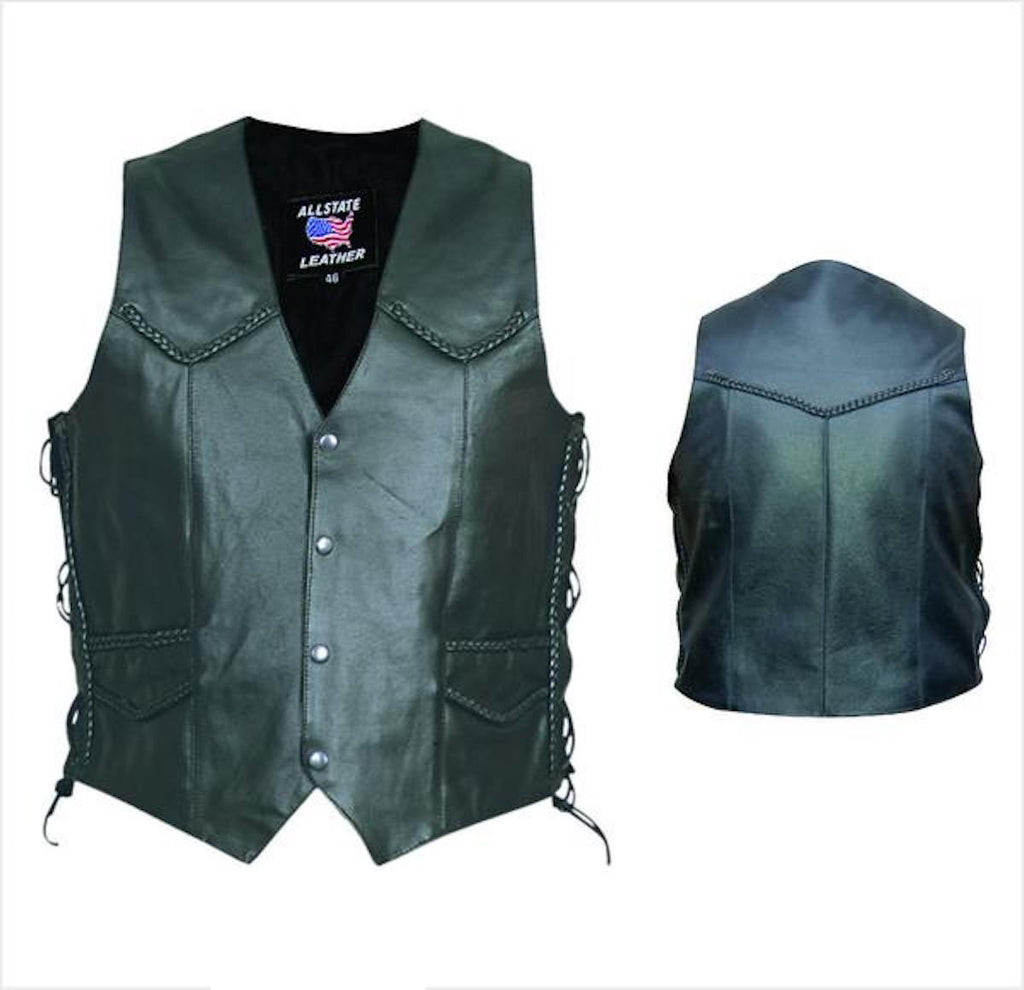 Men's Black Split Cowhide Motorcycle Vest With Braid Trim Side Laces